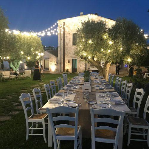 matrimonio di sera tavolata grande